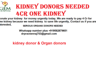 Donate your kidney for money urgently today